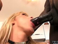 Check out hot blonde italian beauty - Nataly D'Angelo! She sucks on a big black and white cock and takes them in her tight shaved pussy!