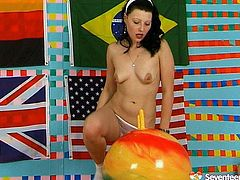 Dirty brunette amateur with Russian roots wets fit ball horn with her mouth before she sticks it inside her snatch for a ride before she mouth fucks a dildo to keep fucking her aroused punani.