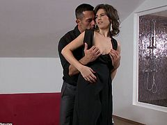 Sexy girl is getting ready to go out on a dinner. She puts black knickers, black nylon stocking and sexy romantic black dress on. The guy is over sexed with her look so he decides to cancel the dinner. Instead he feels like fucking this torrid brunette sexpot.