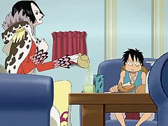 Monkey Luffy is eating snacks and he has a wet dream about Nami and Boa Hancock. Luckily Boa is there with him and he can grab her big boobs, and lick her tight pussy. These pirates know how to get nasty.