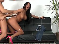 Anissa Kate is one sexy brunette who is in need of a cock. She looks so damn hot and sexy and this guy almost falls in love with her. She sucks his cock and rides it from behind.