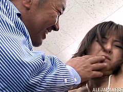 Ai Komori is in a convenience store when she is accosted by a group of perverts. They grab her and begin by sucking her tits. Her nylons are ripped off and she gets fingers stuck in her mouth, before she has to suck cock. She gets her pussy eaten as well.