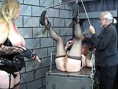 Blonde mature gets deep stimulated by horny guy in wild BDSM porn scene