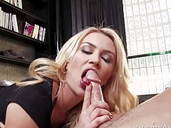 Gigi Allens new employee is really bad at work. But hes good at fucking. Long legged sex obsessed blonde in crotchless pantyhose sucks his beefy cock and then takes it up her pussy.