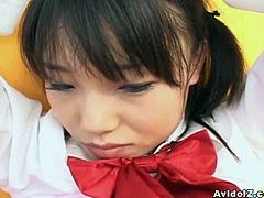 Sweet Japanese innocent school girl feeds her mouth with fat hairy cock.Watch how she sits on her knees and blows fat cock with her lovely mouth.