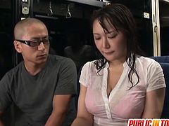 Check out this super horny japanese slut getting banged by multiple men in the public bus. She got her stunning jugs covered with cum!