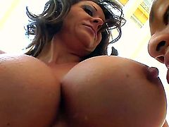 A brunette MILF sucks off a muscular man