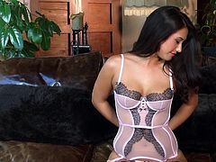 Brunette Eva Lovia loves removing her sexy lingerie before starting to masturbate her warm pussy
