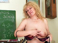 Go for the hottest sex tube video featuring hot tempered lustful milf who dildo fucks her pussy right on the desk and dreams of sexy student guy.