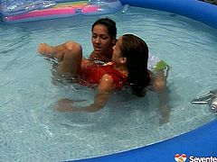 Inflatable pool is a perfect place to spend unforgettable time with kinky lesbian girlfriend. Enjoy two naughty brunettes are going wild in the pool. They are waiting for you.