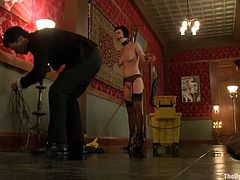 This submissive brunette girl is ready to do anything to entertain her master. Watch this video and you will see great bondage show!