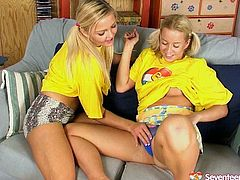These are two playful and frisky teen chicks wearing ponytails. They please one another with energetic tongues. Check out this filthy lesbian sex clip presented to you by Seventeen Video.