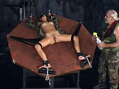 Sweet teen gets nailed and stimulated by older guy in stunning BDSM scene