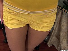 Sophia is a Russian porn slut. She is wearing yellow top and shorts. She lifts the top up flashing her perky tits. Sophia rubs her boobs sensually kind of teasing you. Then, she slips her hands under the shorts fondling wet pussy. Sophia strips totally showing of her sexy body. She sits on a stool with her legs wide open. She plays with her snatch intensively.