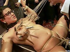 It's a no strings attached kind of relationship that's going on with this broad, only that she's tied with a lot of strings! This fucking whore loves attention and a good hard humiliation so we gave her that. With laundry pliers on her tits, two vibrators on her cunt and a lot of spectators the whore wants more.
