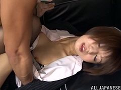 Watch this shorthaired japanese babe. She is giving a great head at the office. The guy with the huge dick feels more horny with every suck that she is giving to his dick. Then he spreads her legs and pushes his man meat into her hairy pussy until he cums. Watch!