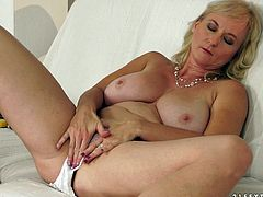 Well stacked mature whore finger fucks her insatiable pussy and licks her juice from fingers. She likes the taste of her cunt and ready to eat it every day.