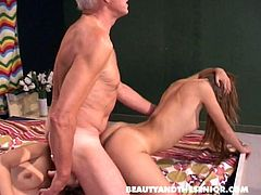 Lewd chestnut cuties Lucie & Carla ride the dick of old man Johan (FFM)