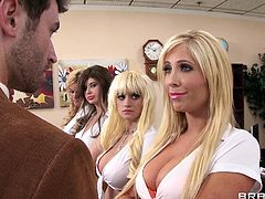 Tasha, Alexis, Scarlett and Chloe have done it! They managed to get sent to the principal's office. And the principal is a hard guy. A really hard guy. How can he not be when there are four big titted hotties kneeling in his office, wanting to suck on his cock?