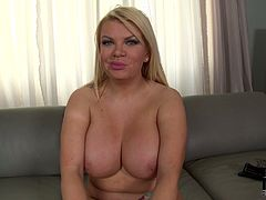 Blonde mature mommy takes off her clothes in front of cam exposing her giant natural tits. She also shows her pink throbbing juices pussy squeezing vaginal folds.