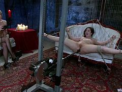 Amazing brunette Charlotte Vale is having BDSM fun with Lorelei Lee. Lorelei binds her slave and tortures her in many ways till she gets an orgasm.
