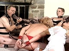 Horny mature loves to dominate her male slave and punish him during horny femdom