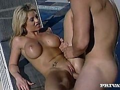 Busty blonde Brooke Haven gets her coochie pounded from behind outdoors