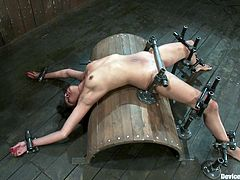 A kinky bitch gets tied up and feels the pressure of a shit load of clamps pressing on her skin in this kinky bondage scene!