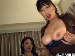 Two sexy Japanese bitches are having fun with some guy indoors. They suck and rub his prick ardently and then get fucked in standing and cowgirl positions.