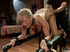 Bosomy blonde mom Simone Sonay wearing sexy lingerie is playing dirty games with some guy indoors. The dude torments the blonde and then plays with her hot pussy till the slut cums a couple of times.
