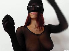 Freaky slut with filthy sex fetish is filming in dirty Hide Nylons porn clip. She is wearing bodystocking covered from head to toes. Perverted mom sucks huge black dildo imitating blowjob. Later she pokes her cunt with the tool.