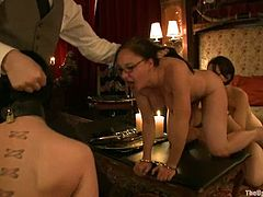Horny Cherry Torn and Sarah Shevon get tied up and clothespinned. They also toy each others pussies and get fucked rough.