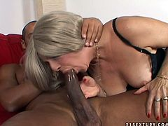 Nasty chubby blonde gives her head and demonstrates deepthroat talent to one BBC. Be pleased with hot interracial sex tube video right now.