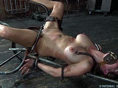 See a horny brunette temptress getting her pussy tortured in the dungeon in this hot bdsm vid. The naughty slave is ready to endure anything to pleasure her master!