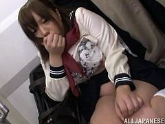 Tokyo's trains are filled with perverts who like groping young schoolgirls. This cute Japanese teen finds out the hard way. She is approached by a disgusting old man who whips his withered cock out. He makes the girl get down on her knees and gives him a sloppy blowjob. She is so humiliated by this.