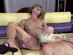 Hussy jade of mature age is having passionate lesbian sex with blonde sexy pre-mature mom. They are pussy licking each other performing hot lesbian oral sex scene.