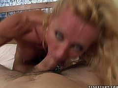 Lusty blonde woman is solid built hooker. She is working her mouth hard giving tremendous deepthroat blowjob. Later she gets on of the rod jumping on it actively.