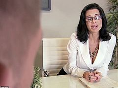 Zealous brunette secretary in white tight blouse and office skirt knows how to help her boss to relax. Ardent harlot with nice rounded ass kneels down and sucks his delicious lollicock for gooey sperm.