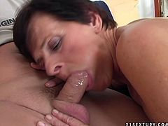 Horny granny seduces young man for sex. He suckles her tits and then fingers her clam. Later he polishes her hairy clam with tongue. Finally, horny granny sucks hard dong deepthroat.
