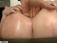 Watch the vicious brunette slut Isabella Clark getting her tight ass fingered, dildoed and banged into heaven by two horny studs that can't wait to cream her asshole.