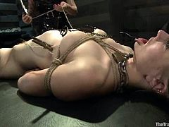 Slim brunette girl gets humiliated by Soma Snakeoil a.k.a. Goddess Soma. Then this girl licks Soma's pussy and gets toyed.