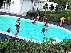 Dude, you've got a great chance to jerk off and jizz at once along with Tainster xxx clip. Zealous buxom hotties go nuts as soon as they get tipsy. So spoiled slim nymphos with natural tits demonstrate their dick sucking and riding skills at the orgy party by the pool.