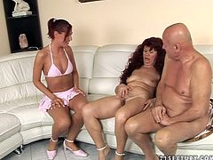 Furious old couple invite a sizzling brunette prostitute in search for hot sexual experience. She sits between old couple with legs wide open while they caress her firm body and stroke her cunt in FFM sex video by 21 Sextury.