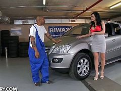 Aletta Ocean's new car just broke down, but she didn't have any money on her. Instead of that she got her tight pussy repaired by his big black cock!