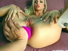 Mind taking blond beauty Alyssa lies on her back with legs pulled toward her head as a horny dude pokes her asshole and cunt with dildo in turns.