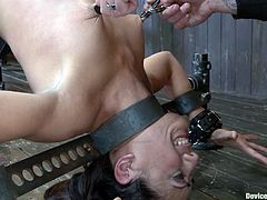 This sex slave Lyla Strom is going through hell this time. Her master uses some thick chains to hogtie this pleasant babe.