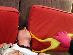 Sometimes decent girls like to misbehave, such as these ones! Our blonde licks cock down on her knees like a whore and then those two make a mess on the kitchen floor and in the bedroom. Like it so far? Then why not watch this cutie being spanked with a rubber chicken and fucked hard by the Joker!