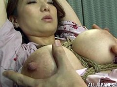 Busty Japanese bitch Mio Takahashi wearing a kimono shows her cunt and tits to some guy and lets him play with them. Then she takes his dick in her mouth and sucks it remarcably well.
