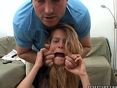 Submissive messy Russian amateur is going through a casting with a horny fucker. He stretches her mouth pitiless examining her teeth before he forces her to mouth fuck his hard penis in pov sex clip by 21 Sextury.