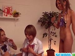These four Japanese teens undress each other and play with big vibrators. They also masturbate to get off at the end.